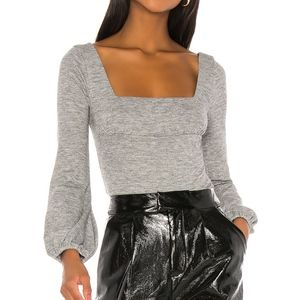 Lovers + Friends Blakey Grey ribbed Sweater Top